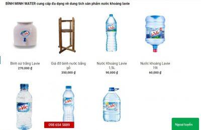 Có đầy đủ tất cả các sản phẩm nước khoáng Lavie