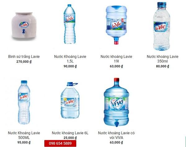 Báo giá các sản phẩm nước khoáng Lavie